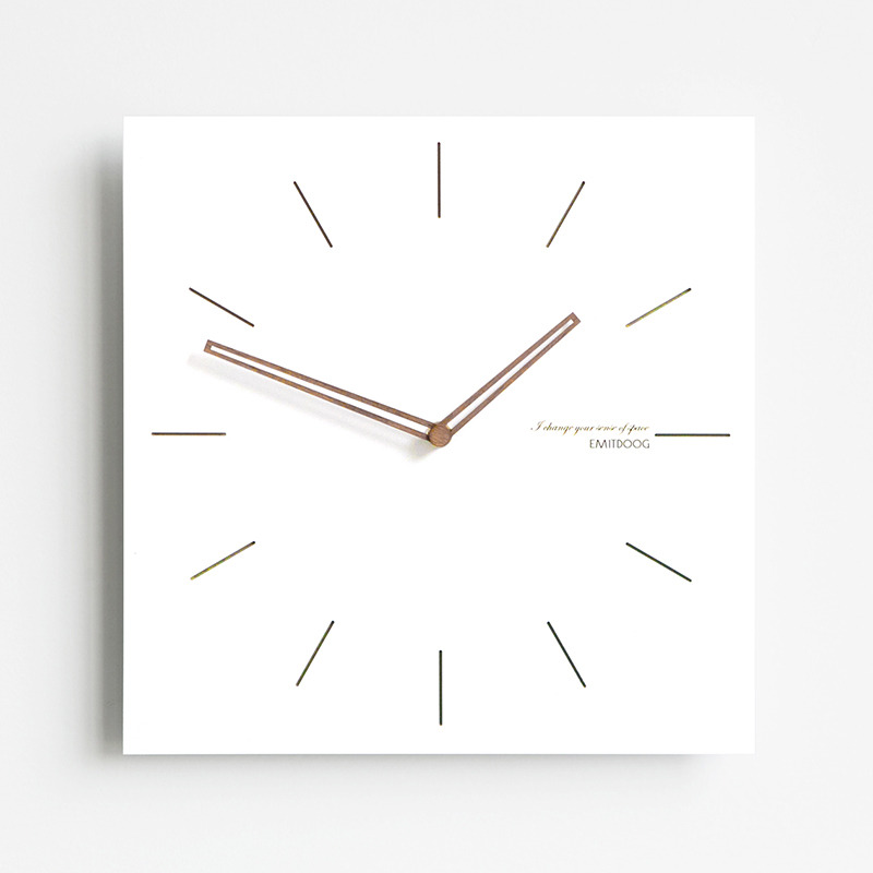 Square Wall Clock White Wooden Contemporary Living Room