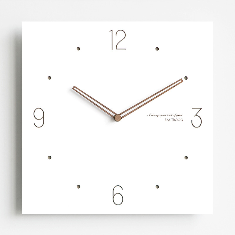 Square White Modern Wooden Kitchen Wall Clocks Battery Operated