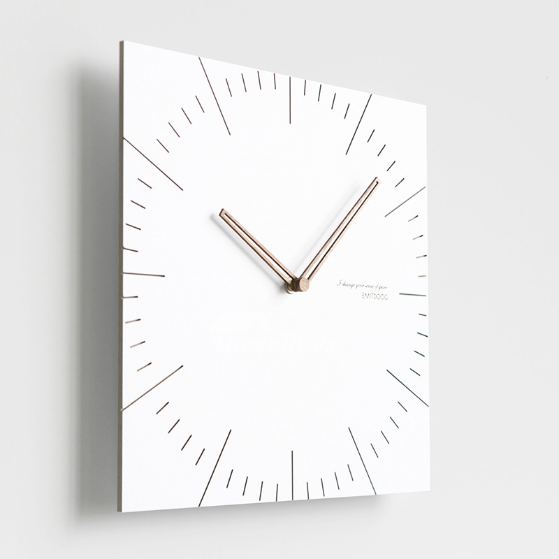 Simple Square White Modern Wooden Kitchen Wall Clocks Battery Operated