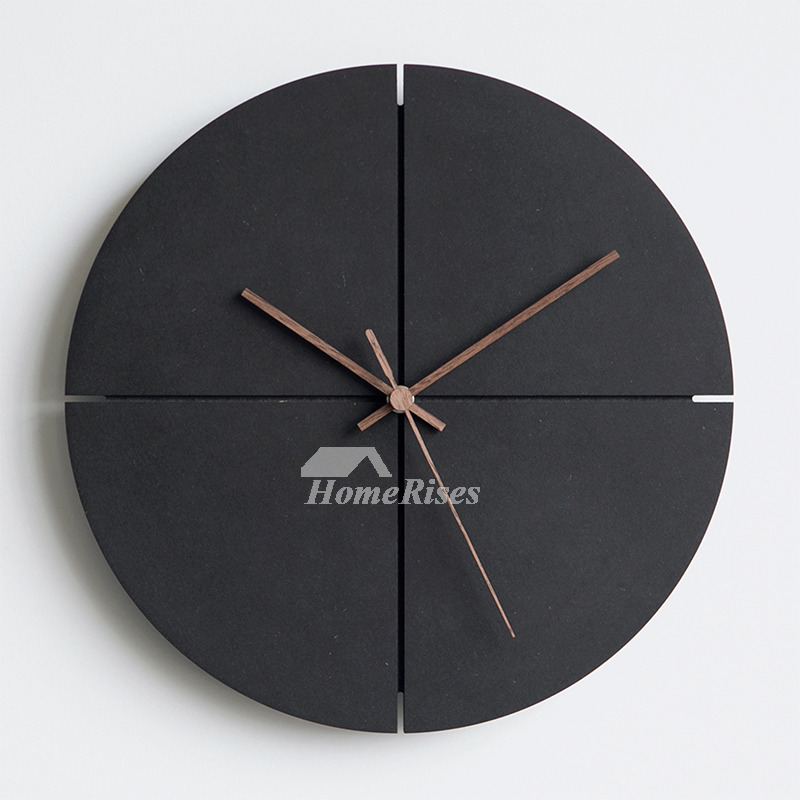 Black Wall Clock Wooden Round Square Simple Hanging Cool