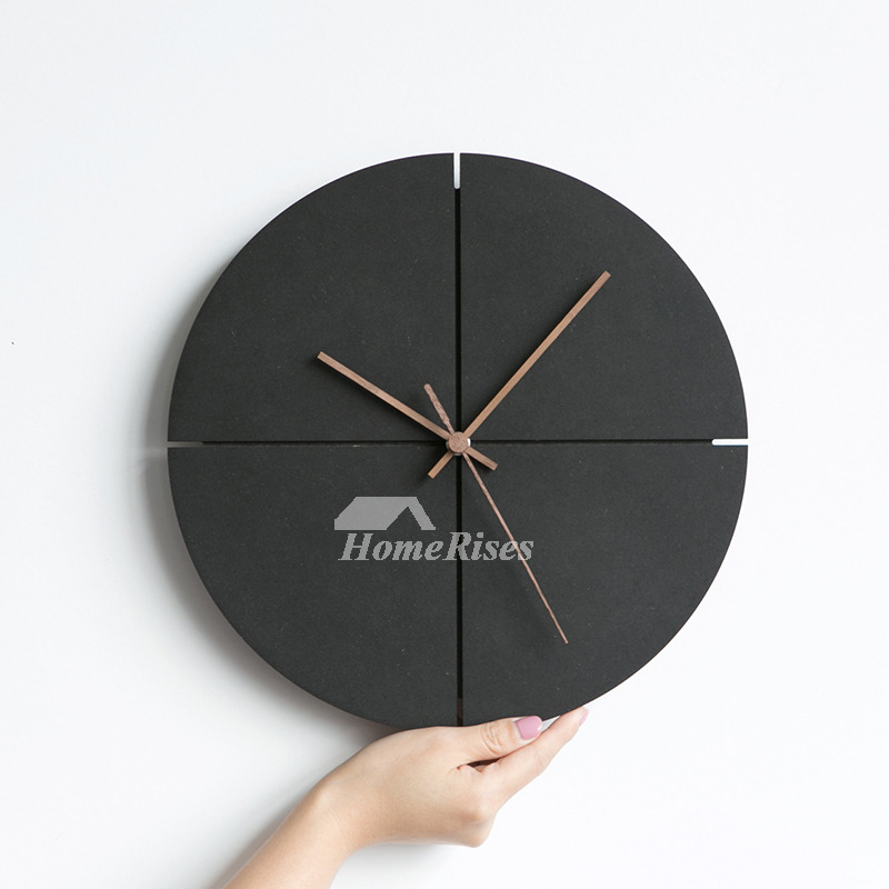 Black Wall Clock Wooden RoundSquare Simple Hanging Cool Industrial