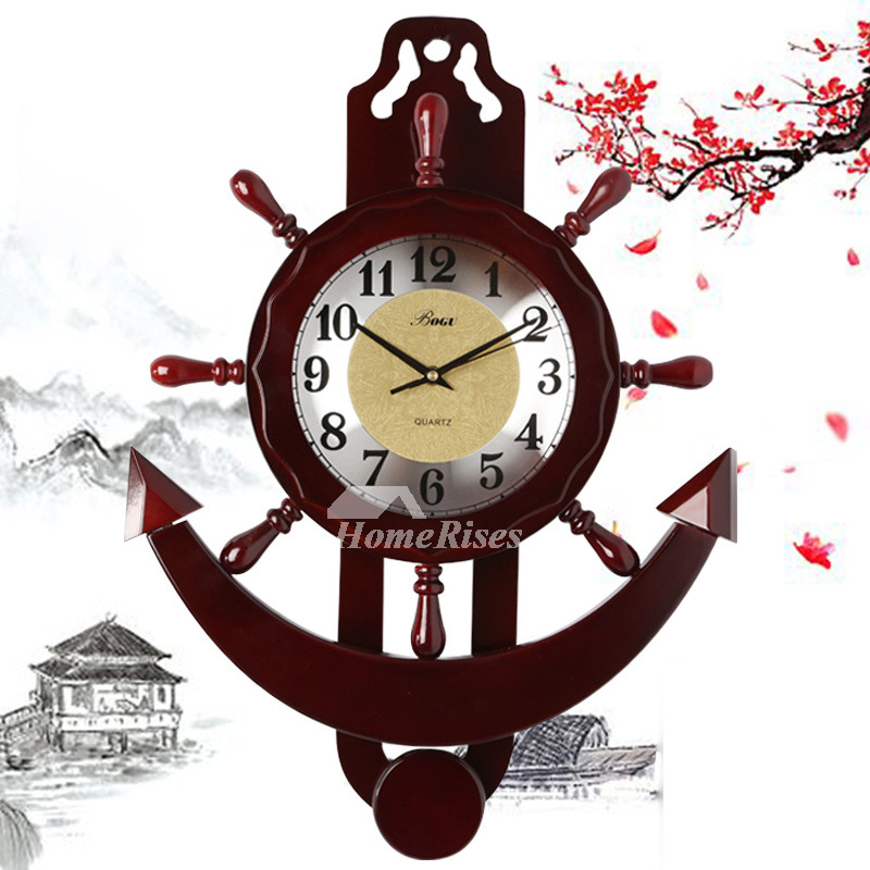 Nautical Wall Clock Wooden Hanging Painting Rustic Silent