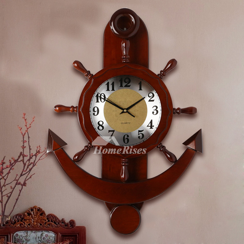 Nautical Wall Clock Wooden Hanging Painting Rustic Silent Living Room