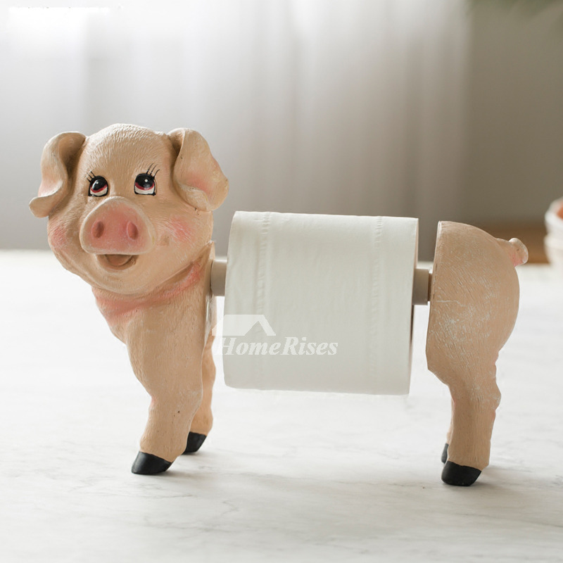 Funny Toilet Paper Holder Pig Standing Resin Unique Animal