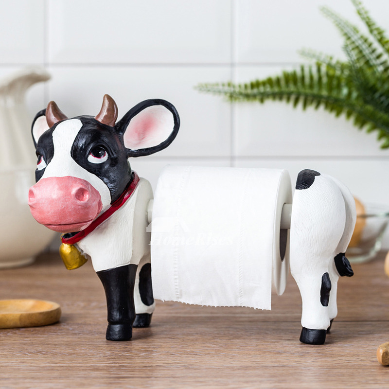 Animal Toilet Paper Holder Milk Cow Funny Resin Free Standing