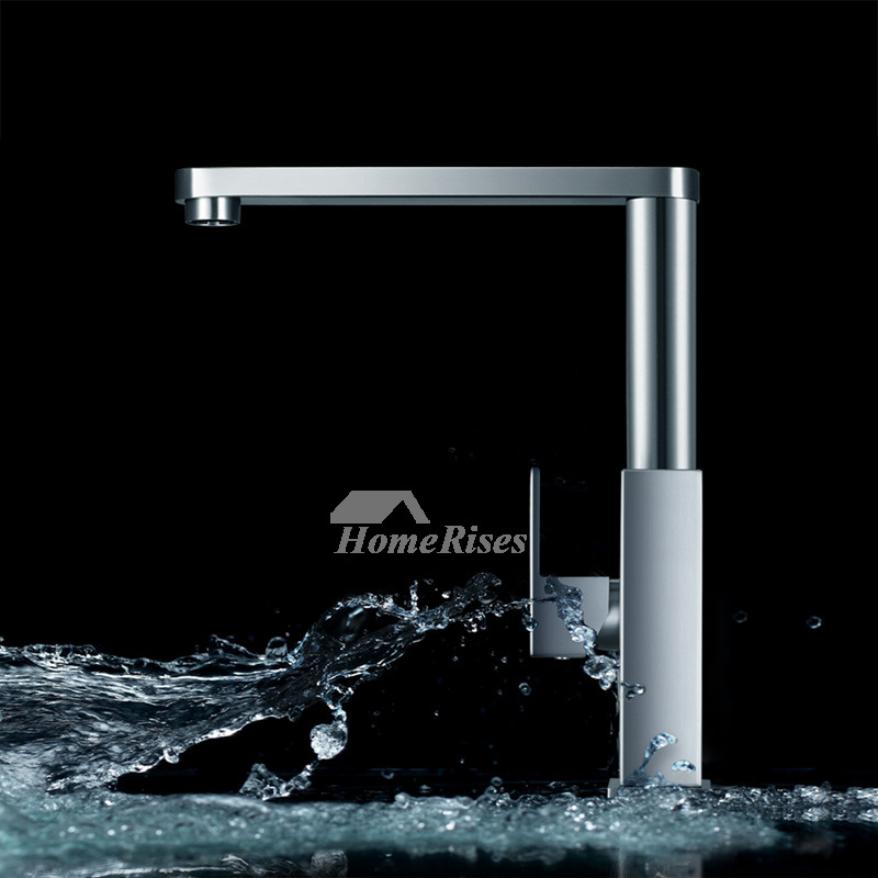 Contemporary Kitchen Faucets Brushed Nickel Silver Stainless Steel