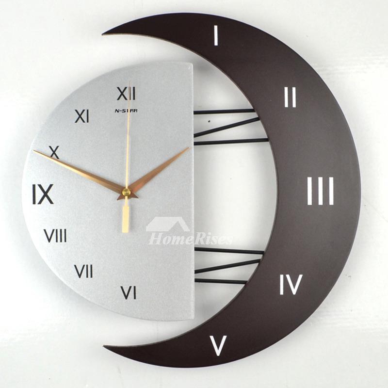 Living Room Wall Clocks Silent Modern Creative Wooden