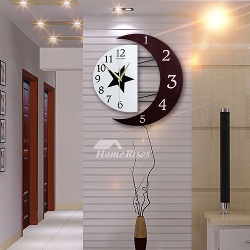 Living Room Wall Clocks Silent Modern Creative Wooden