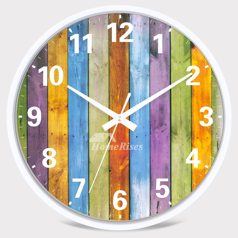 Kitchen Wall Clocks Round Silent Bedroom Chic Plastic