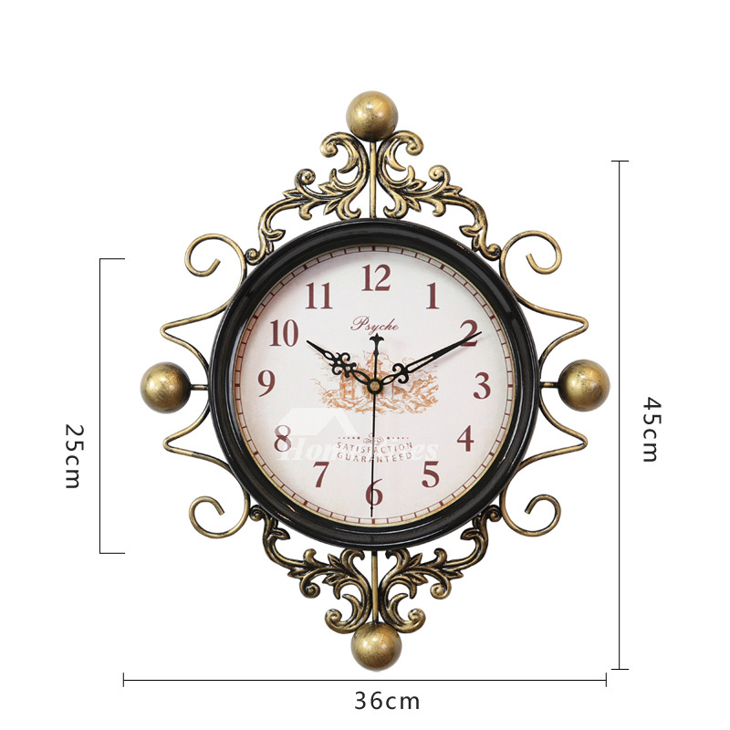 Antique Wall Clocks Metal Glass Hanging Silent Carved Decorative