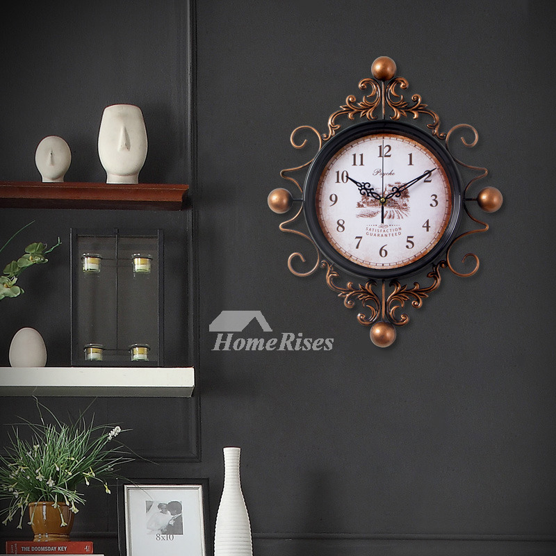 Antique Wall Clocks Metal Glass Hanging Silent Carved