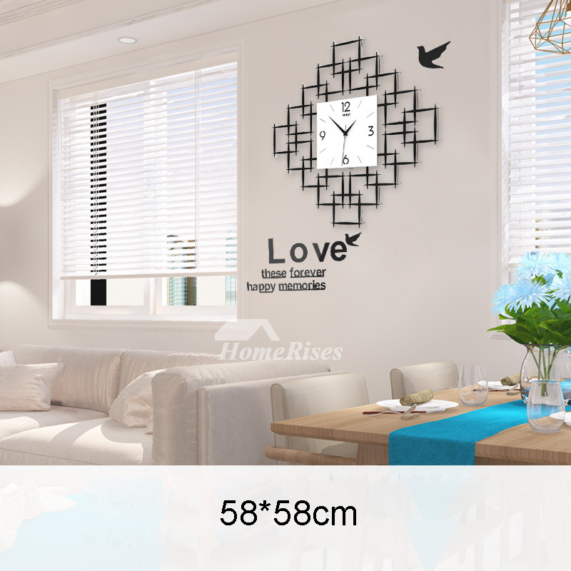 Best Wall Clocks Acrylic Hanging Painting Square Silent Living Room