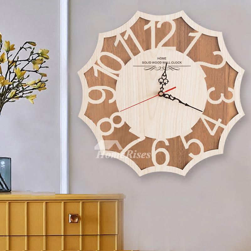 Silent Wall Clock Hanging Decorative Wooden Natural Rustic Bedroom