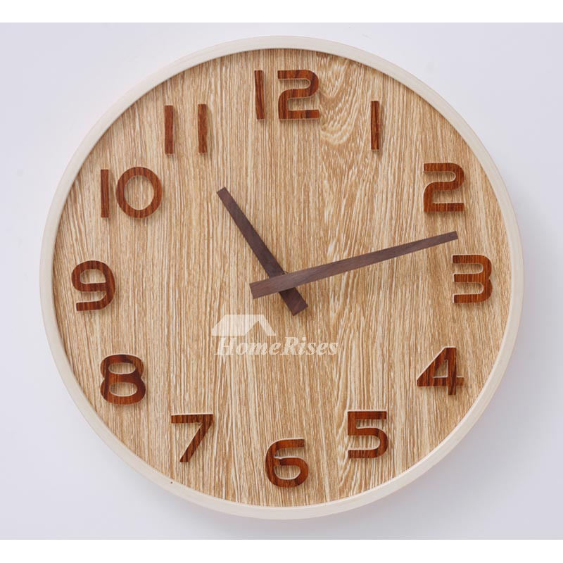 Round Wall Clock Wooden 1214 Inch Diameter Hanging Silent WhiteNatural