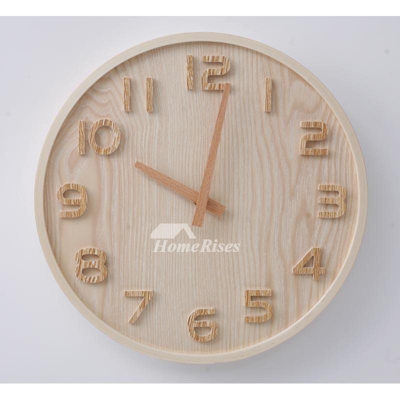 Round Wall Clock Wooden 12 14 Inch Diameter Hanging Silent
