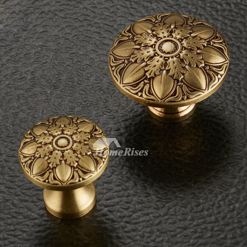 Cheap Door Knobs Carved Antique Brass Bronze Gold Decorative