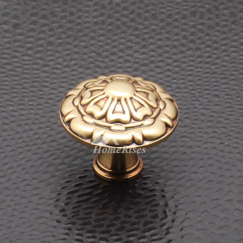 Antique Brass Knobs Carved Polished Interior Bedroom