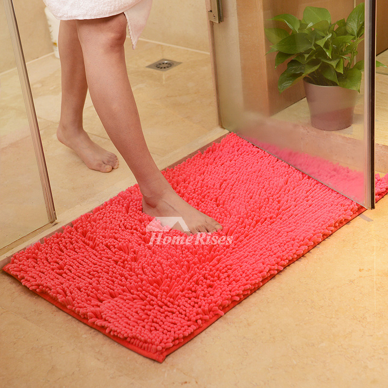 Grey Bath Mat Red Coral Hot Pink Chenille Square Modern Floor