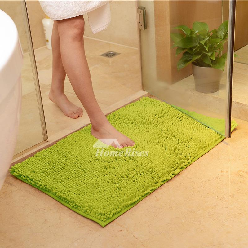 Cheap Bath Mats Beige/Green/Orange/Purple Chenille Square