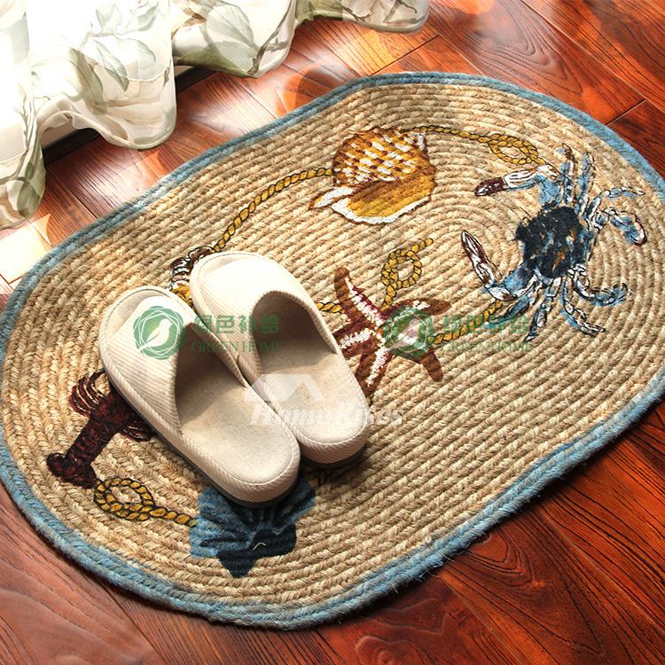 Decorative Bath Mats Linen Oval Washable Non Slip