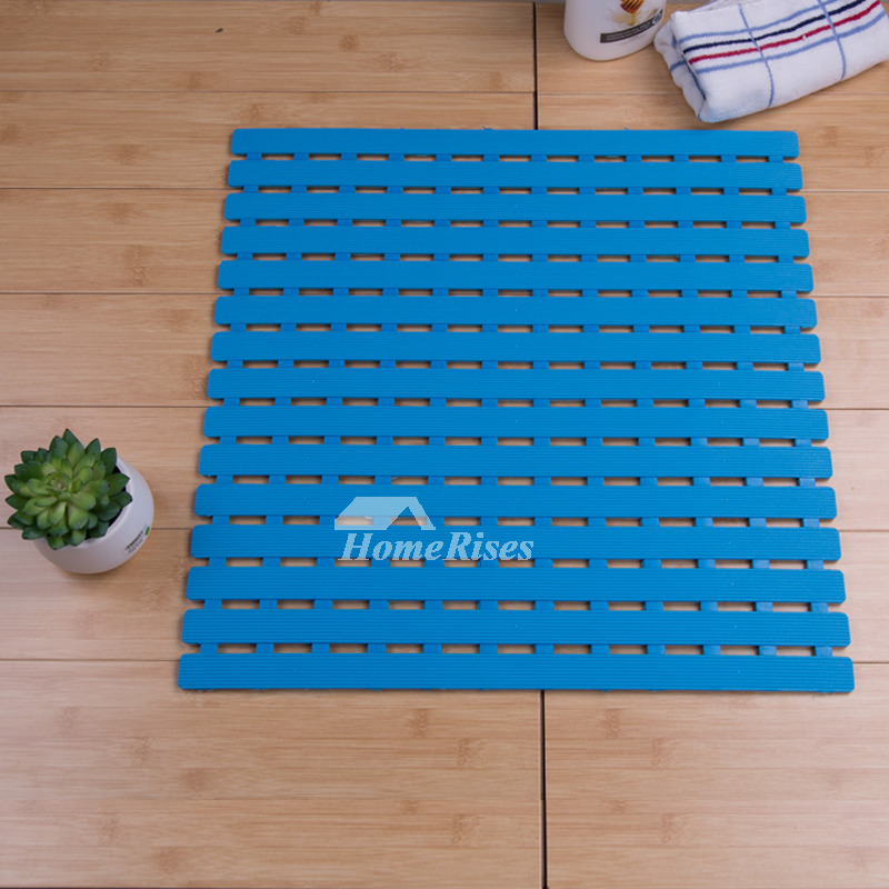 Blue Bath Mat Square Plastic Suction Cup Non Slip Print