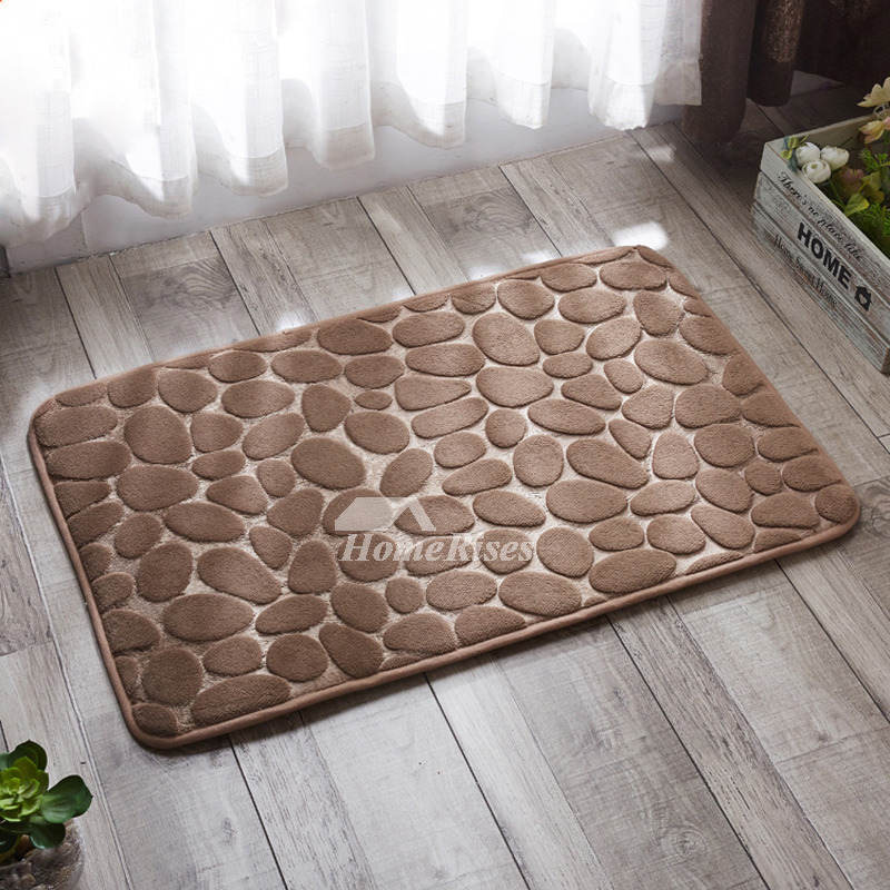 Absorbent Bath Mat Square Polyester Soft Patterned Non Slip Brown Grey Purple
