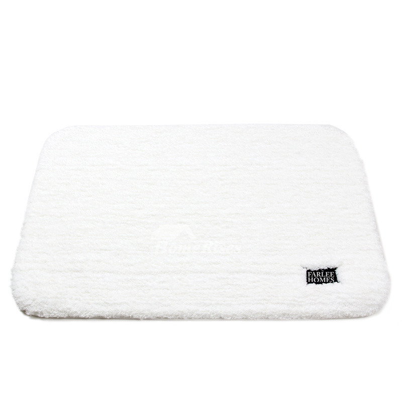 Plush Bath Mat Brown Grey Beige White Shaggy Filber Modern