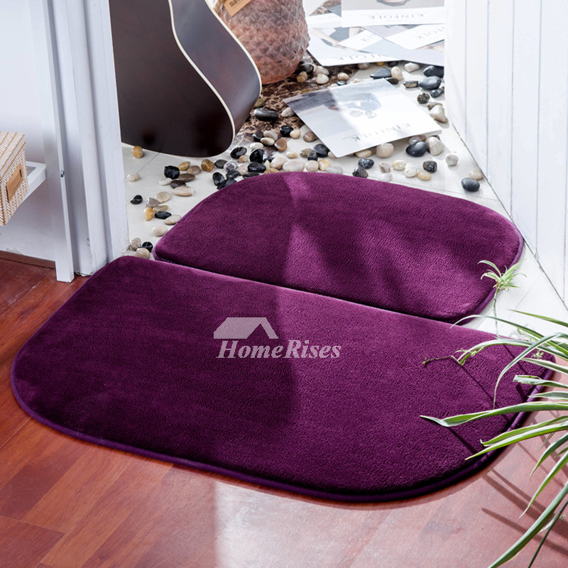 Brown Grey Purple Bath Mat Polyester 2 Pcs Absorbent Washable