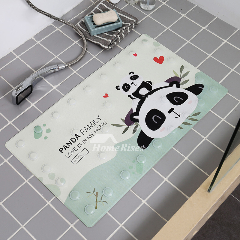Kids Bath Mat Animal Pu Patterned Square Non Slip Suction Cup