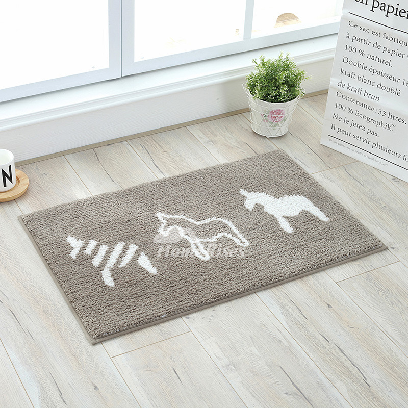 And White Bath Mat Patterned Square Shower Polyester Horse/Fish