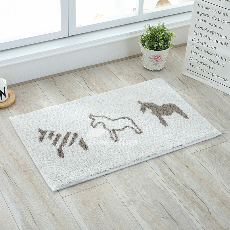 Grey And White Bath Mat Patterned Square Shower Polyester Horse