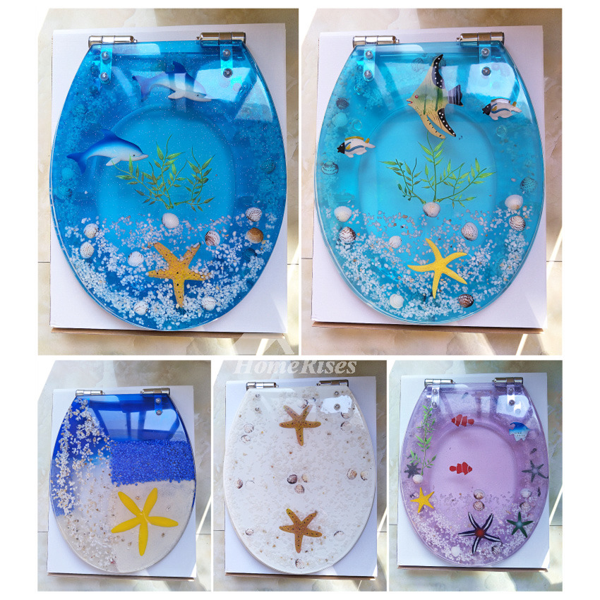 Blue Underwater World Soft Close Resin Toilet Seat Oval