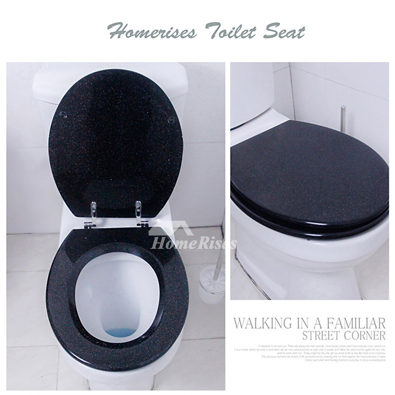 Glitter Toilet Seat Resin Black Silver Undermount