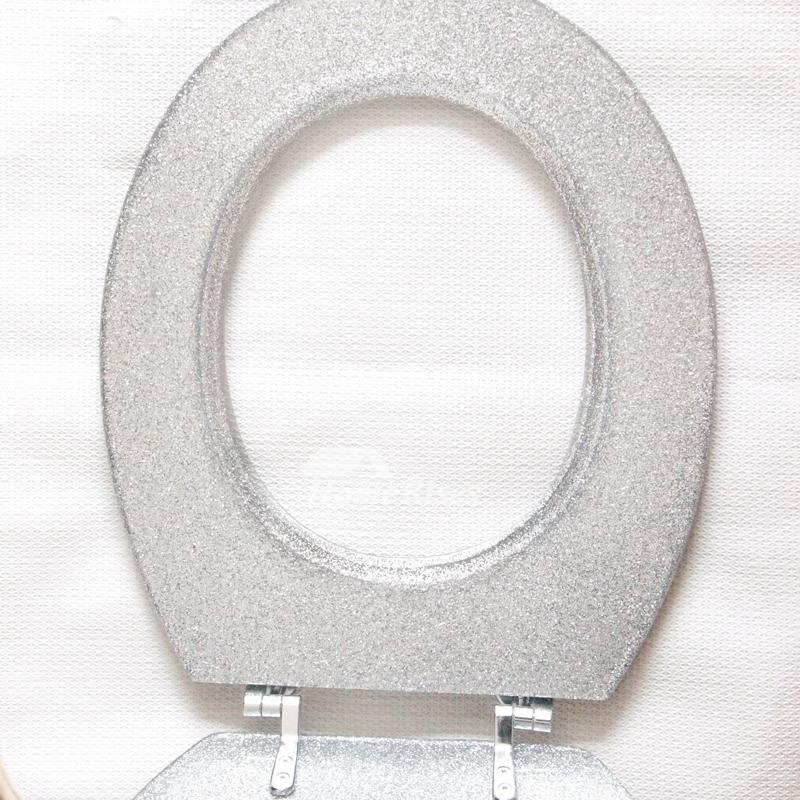 Glitter Toilet Seat Resin Black Silver Undermount Elongated Colored Designer