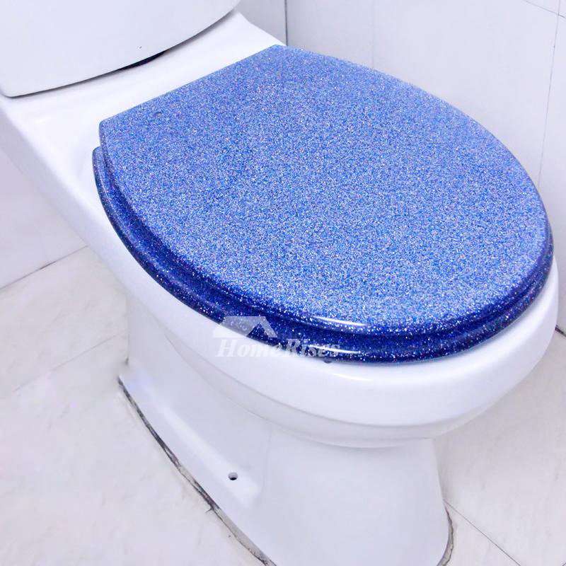 Designer Toilet Seats Undermount Blue Glitter Resin Unique