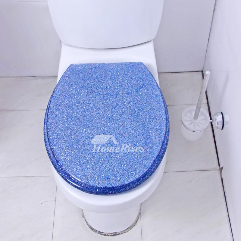 Designer Toilet Seats Undermount Blue Glitter Resin Unique