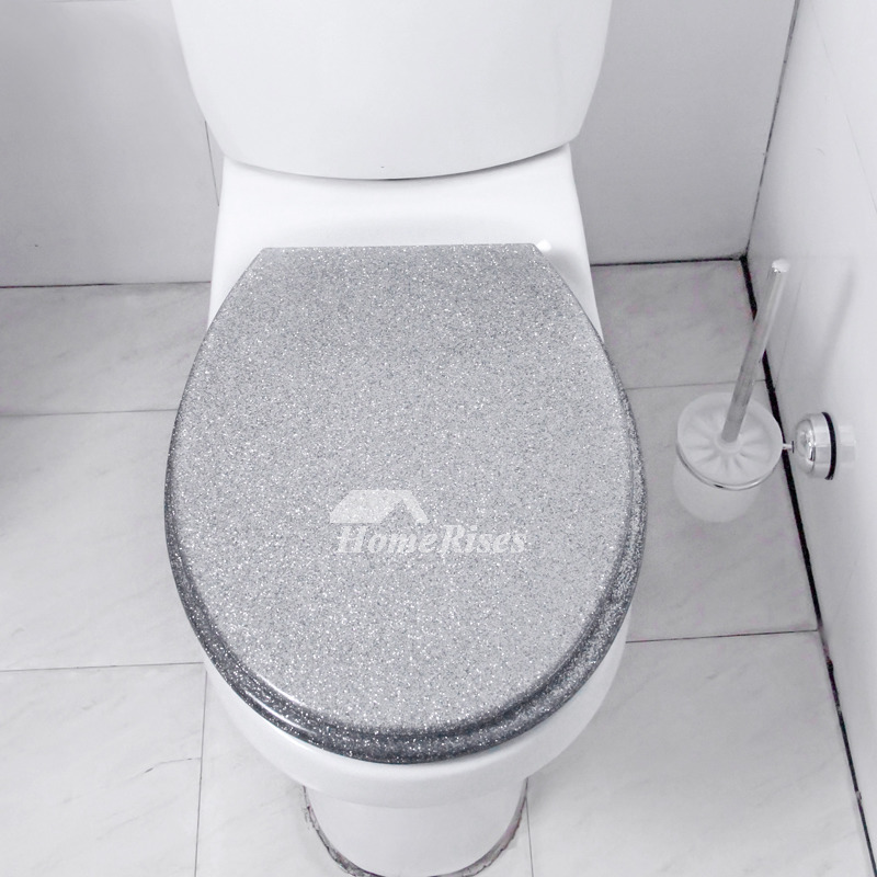 Super Luxury Funky Glitter Resin Soft Close Toilet Seat Silver Elongated Designer Best Modern Oval Decorative Toilet Seat Stainless Steel Hinges Onthecornerstone Fun Painted Chair Ideas Images Onthecornerstoneorg