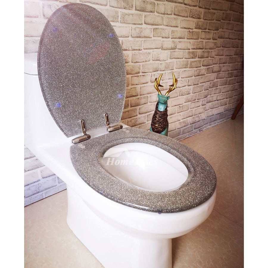 Swell Luxury Funky Glitter Resin Soft Close Toilet Seat Silver Elongated Designer Best Modern Oval Decorative Toilet Seat Stainless Steel Hinges Onthecornerstone Fun Painted Chair Ideas Images Onthecornerstoneorg