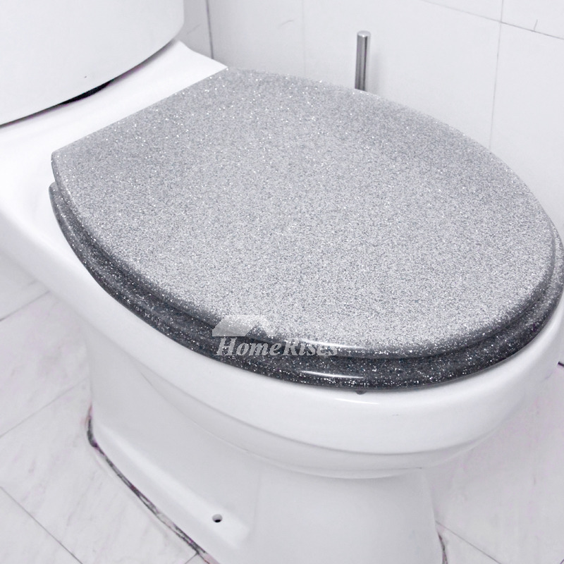 Funky Glitter Resin Elongated Toilet Seat Resin Silver