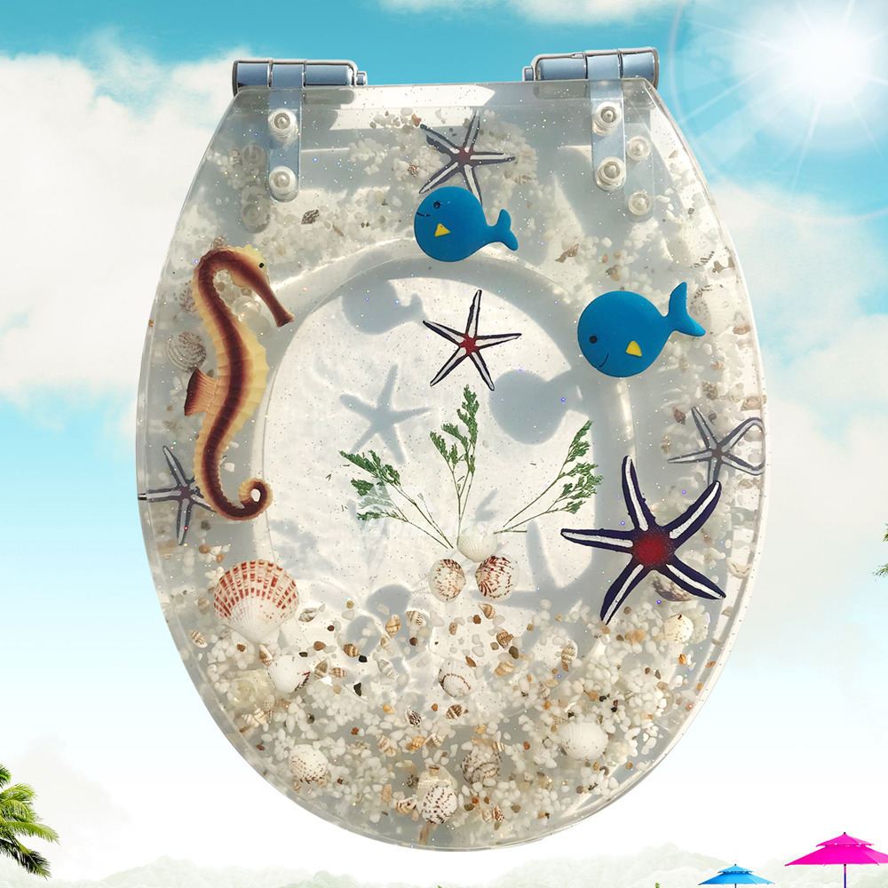 Decorative Toilet Seats Resin Soft Close White Transparent Seashell Novelty