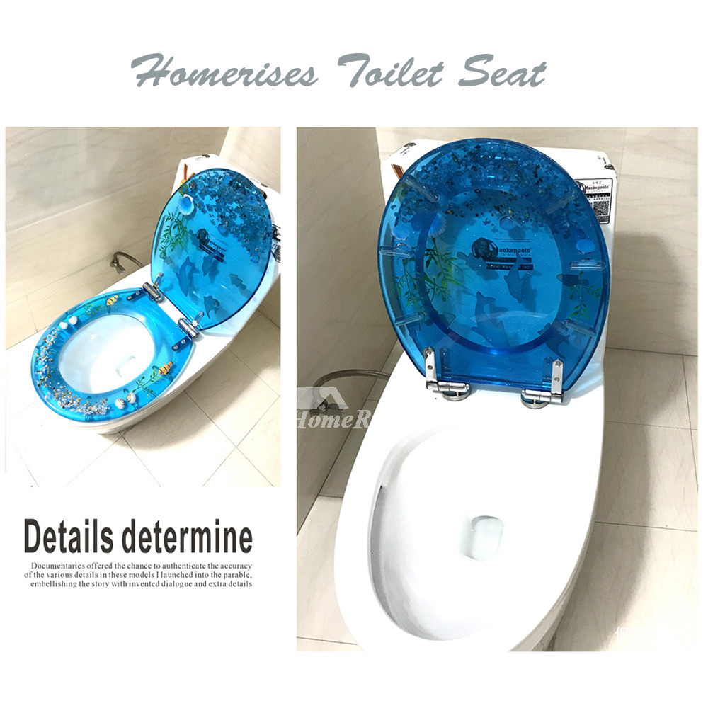 Blue Toilet Seat Green Resin Decorative Fancy Slow Close