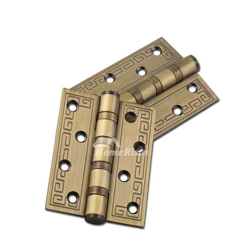 - Interior Door Hinges Antique Brass Carved Stainless Steel 2 Pcs Gold