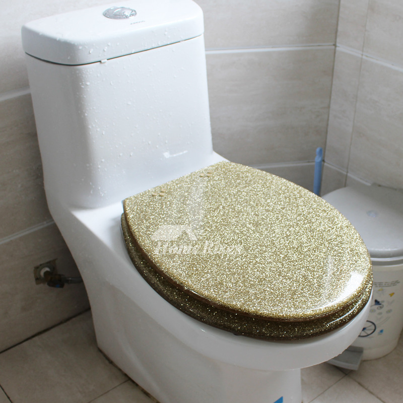 Gold Toilet Seat Glitter Resin Decorative Novelty Fancy