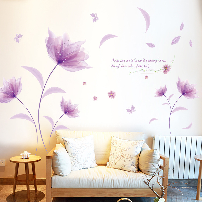 large wall stickers for living room flower wall stickers living room pvc bedroom home deco large 25755