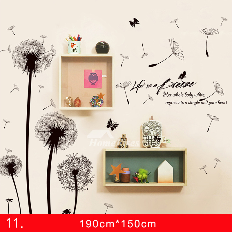 Adhesive Wall Stickers Pvc Flower Dandelion For Bedroom Home