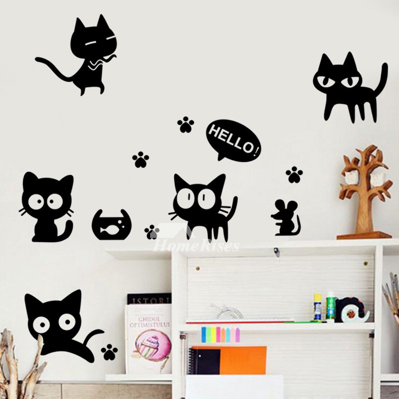 Wall Stickers For Kids Wine Bottle/Ship/Photo Frame/Cat PVC Bedroom