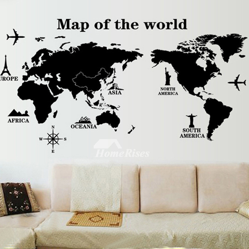 Wall art stickers world mapphoto frametowelanimal pvc self adhesive gumiabroncs Image collections
