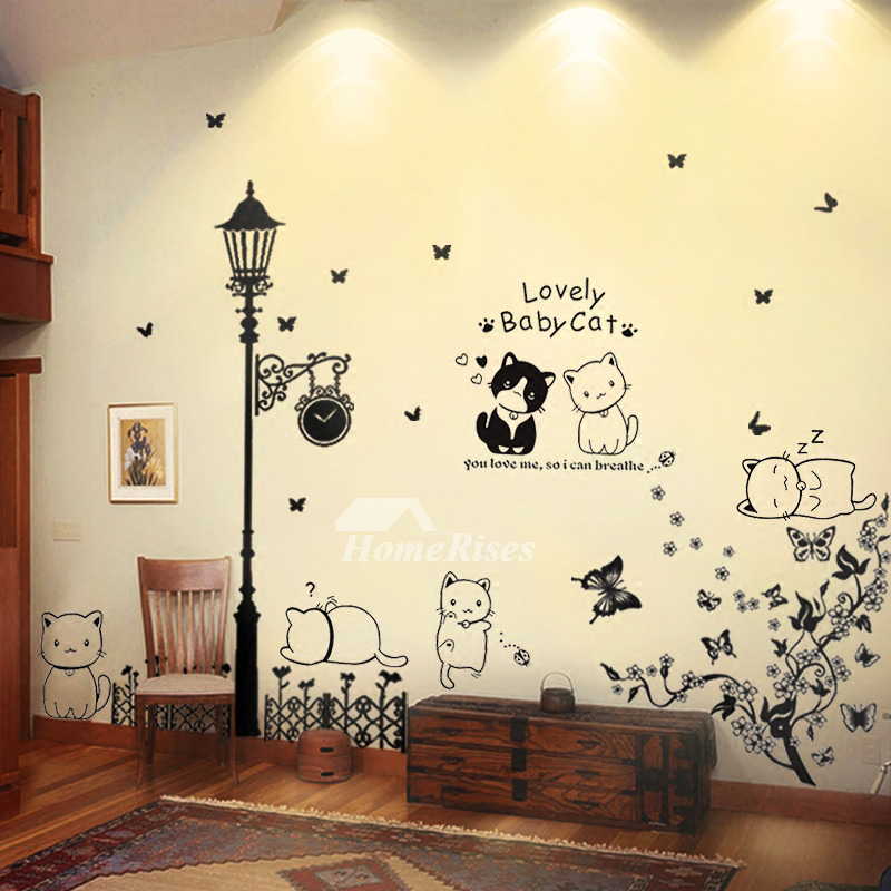 Self Adhesive Wall Stickers Tree/Birdcage/Cat/Light PVC Home Decor