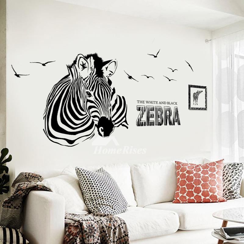 Bedroom Wall Art Stickers Photo Frame Scenery Girls Light Zebra Letter Pvc