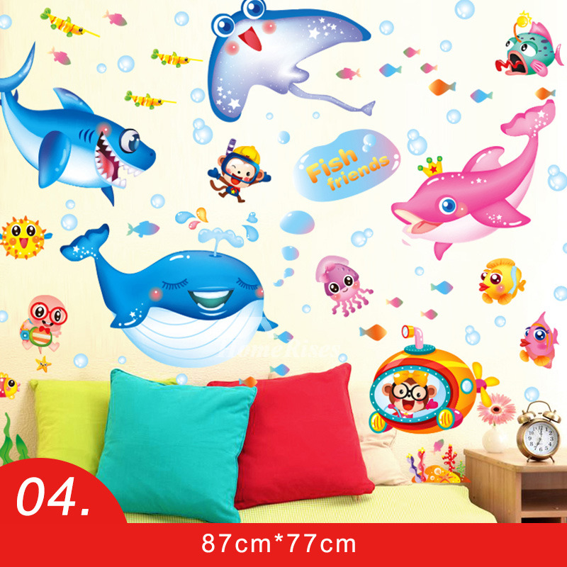 Nursery Wall Stickers Giraffe/Monkey/Fish/Boys And Girls/Mushroom PVC